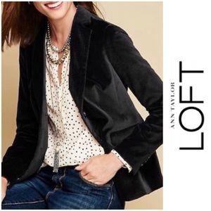 LOFT Black Velvet Blazer Button up Sz 8